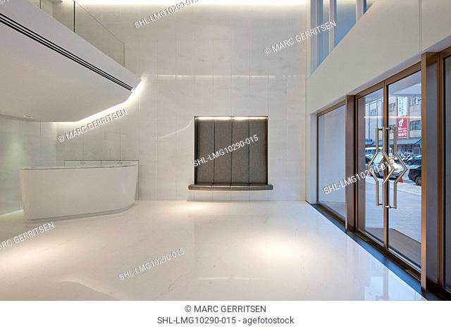 Bright white lobby of apartment building