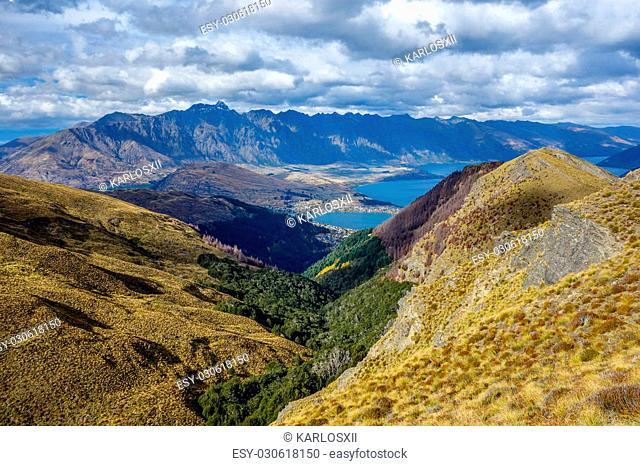 Wakatipu Lake from Ben Lomond track Queenstown New Zealand