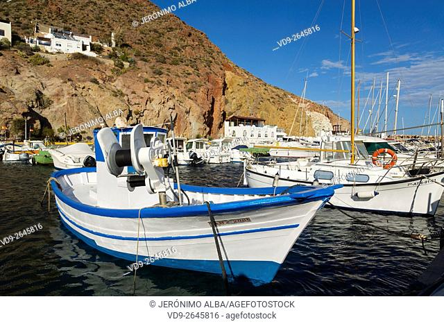 Marina and fishing port. San José Cabo de Gata Nijar, Natural Park Biosphere Reserve. Almeria province, Andalusia, Spain Europe