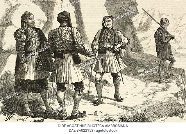 7th corps of Evzones, Greek highland troops, Greece, illustration from The Graphic, volume XVII, no 444, June 1, 1878