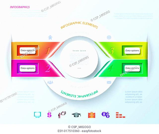 Abstract infographic design with white circle and color ribbons. Vector illustration can be used for web design, workflow or graphic layout, diagram