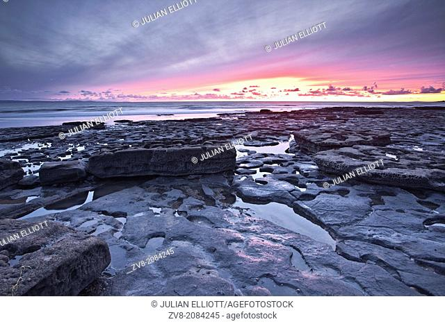 The rocky shoreline of Dunraven Bay at its northern end provides a wealth of geological fascination
