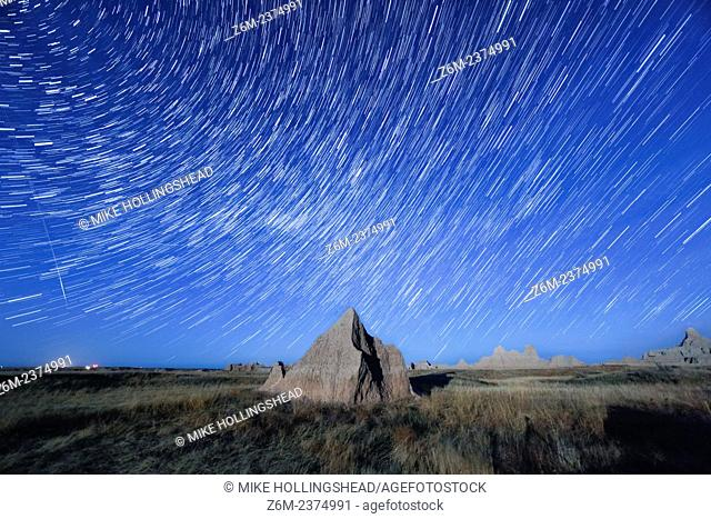 Stars trail over the Badlands of South Dakota