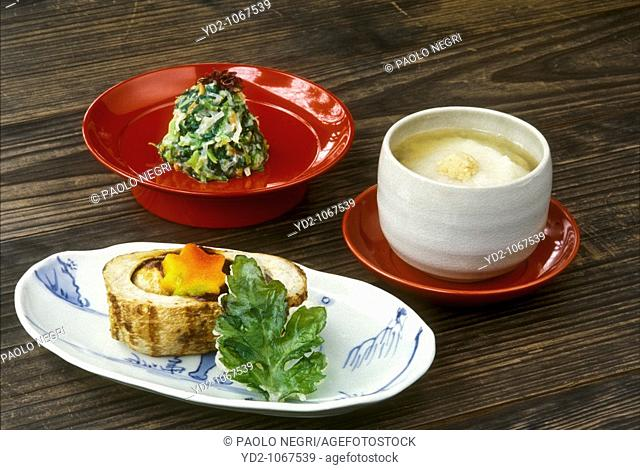 Japan, Kyoto, tray of dishes vegetarian cuisine of Buddhist monks, Shojin-ryori vegetable cuisine