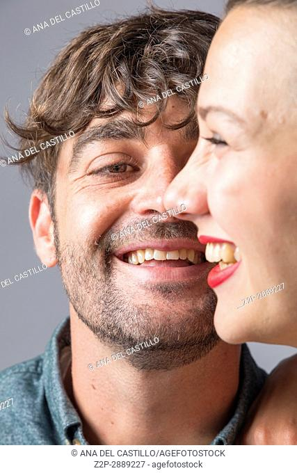 Mid-adult couple laughing