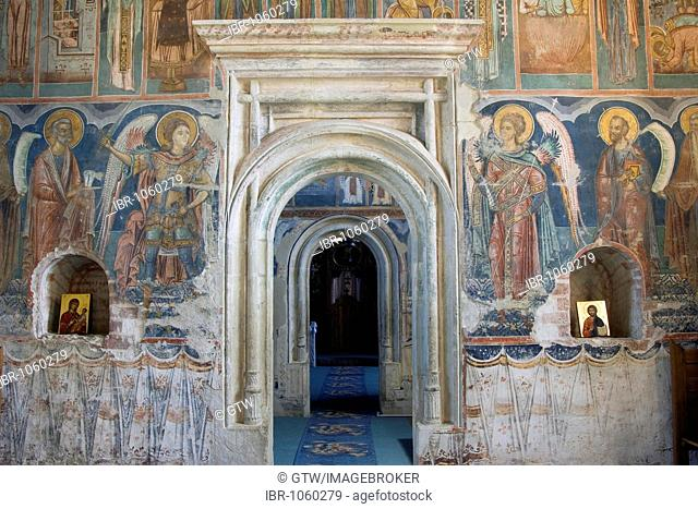 Pridvor, entrance of the Church of St Nicholas, UNESCO World Heritage Site, Probota Monastery, South Bucovina, Moldavia, Romania, Europe