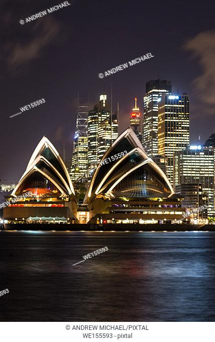Sydney city skyline after dark. NSW, Australia