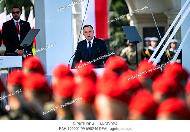 01 September 2019, Poland, Warscheu: Polish President Andrzej Duda speaks at the central commemoration ceremony of the Republic of Poland on the 80th...