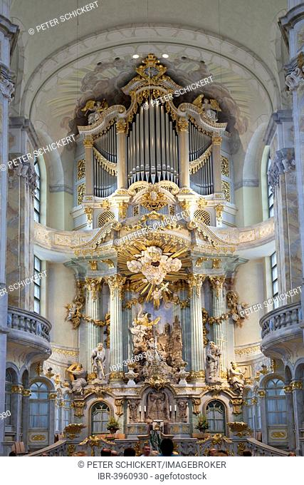 Interior and altar of the Church of Our Lady, Dresden, Saxony, Germany