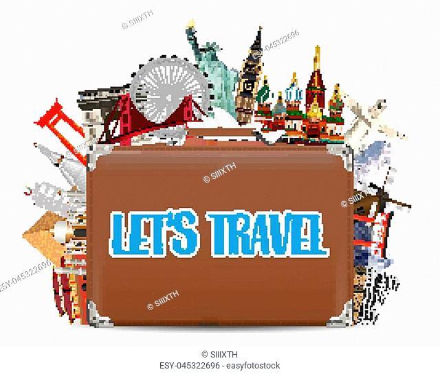 suitcase travel bag with world travel landmark