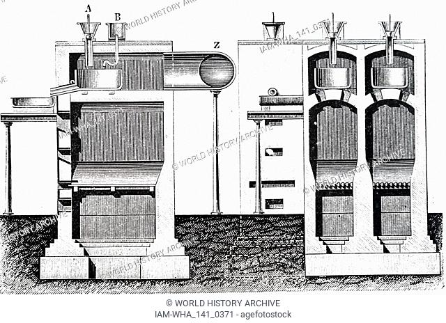 An engraving depicting a method of producing nitric acid and sulphuric acid with a furnace. Dated 19th century