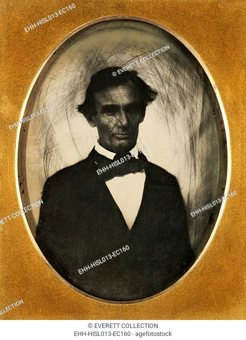 Ambrotype of Abraham Lincoln, taken in Pittsfield, Illinois, two weeks before the final Lincoln-Douglas debate in Lincoln's unsuccessful bid for the Senate