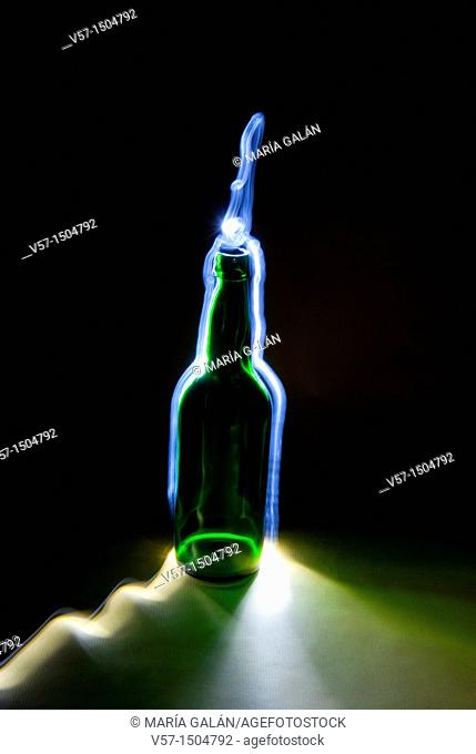 Light-painting with a bottle
