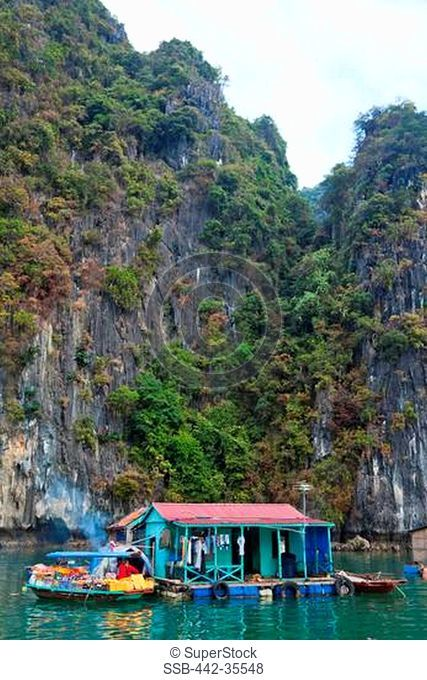 Floating village in a bay, Ha Long Bay, Quang Ninh Province, Vietnam