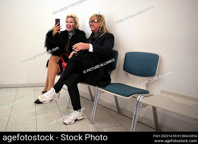 14 February 2020, North Rhine-Westphalia, Langenfeld: Bert Wollersheim, former red-lighting great, waits with his wife Ginger Costello at the Langenfeld...