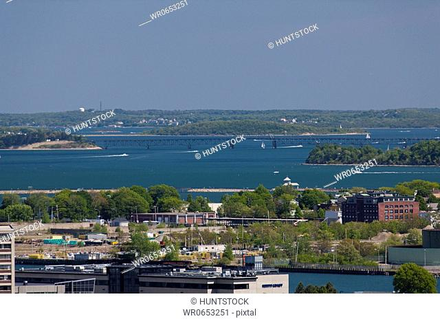 High angle view of buildings at waterfront, Boston, Massachusetts, USA