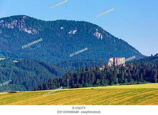 View of the Castle Likavka near Ruzomberok in Slovakia in summer 2015
