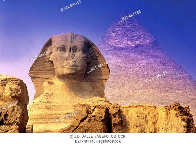 Sphinx and pyramide at Gizeh. Cairo. Egypt