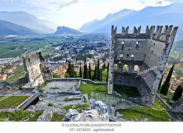 The Arco Castle dominates the town and the plain of Alto Garda. On the background the Mount Brione. Trento province, Trentino Alto-Adige, Italy, Europe
