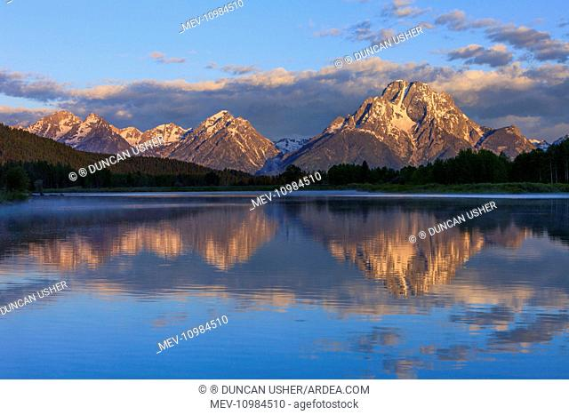 Mount Moran - and Oxbow Bend - Snake River Grand Teton National Park, Wyoming, USA