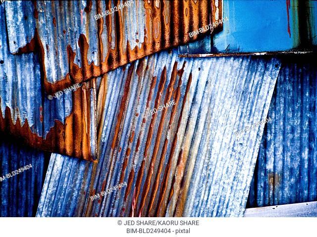 Rusty sheet metal near window