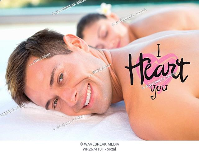 Composite image of man at spa with valentines text
