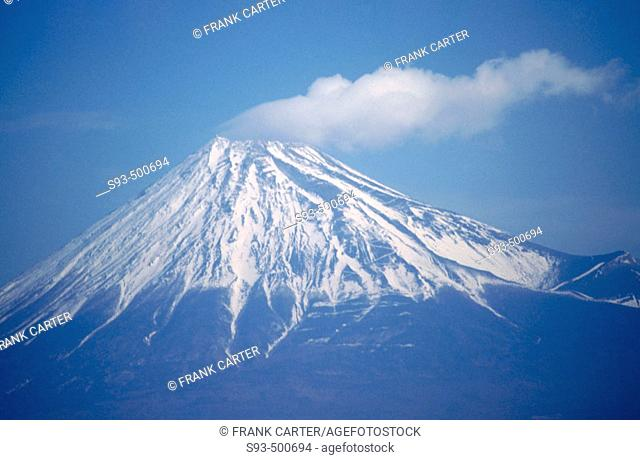 Mount Fuji as seen from the bullet trains from Kyoto to Tokyo. Japan