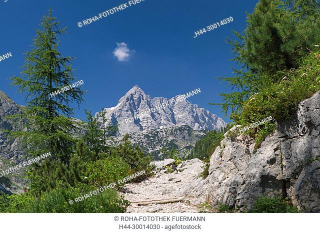 Auf dem Weg zum Funtensee im Steinernen Meer mit dem Watzmann im Hintergrund mit der Südspitze