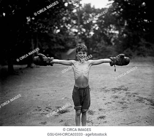 Young Boy with Boxing Gloves, Harris & Ewing, 1926