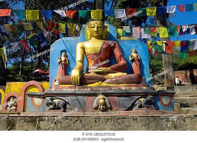 Buddha statue at the foot of the Swayambunath Monkey Temple
