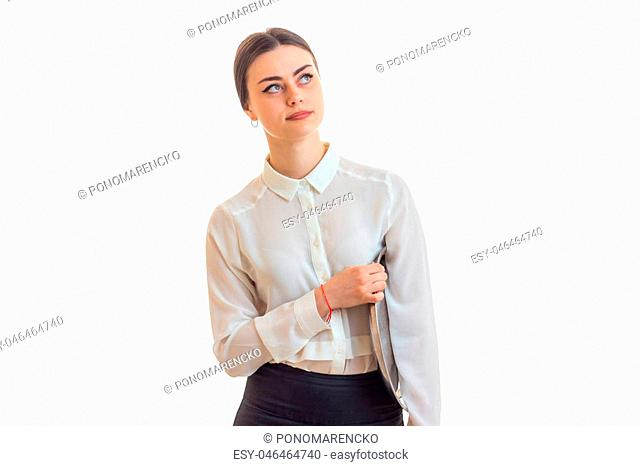 girl waitress with trey in hands wears a unifrom isolated on white background