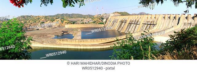 Narmada river dam in kevadia colony , Gujarat , India
