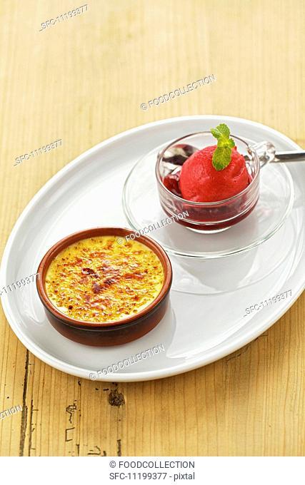 Crème brûlée with Amarena cherries and cherry sorbet