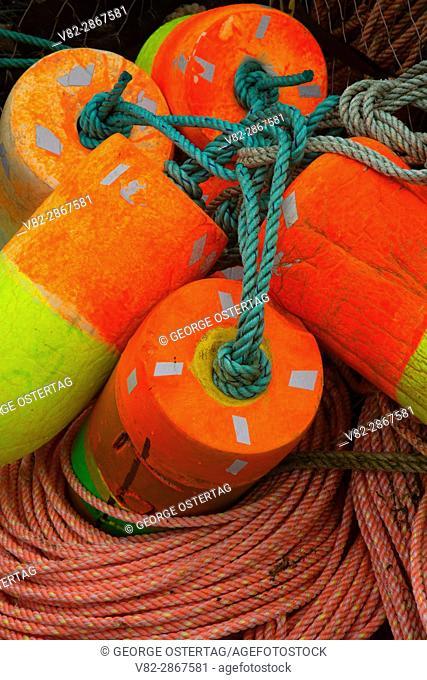 Crab pot floats, Port of Newport, Newport, Oregon