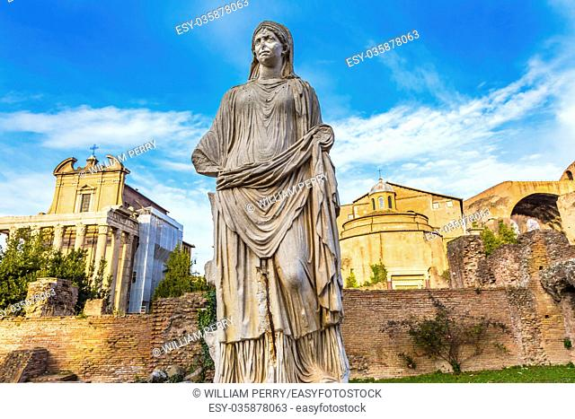 Vestal Virgn House of the Vestal Virgins Temple Emperor Antonius and Wife Faustina Corinthian Columns Roman Forum Rome Italy