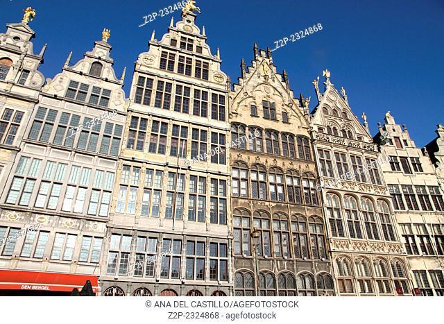 Gothic palaces Grote Markt square Antwerp Belgium