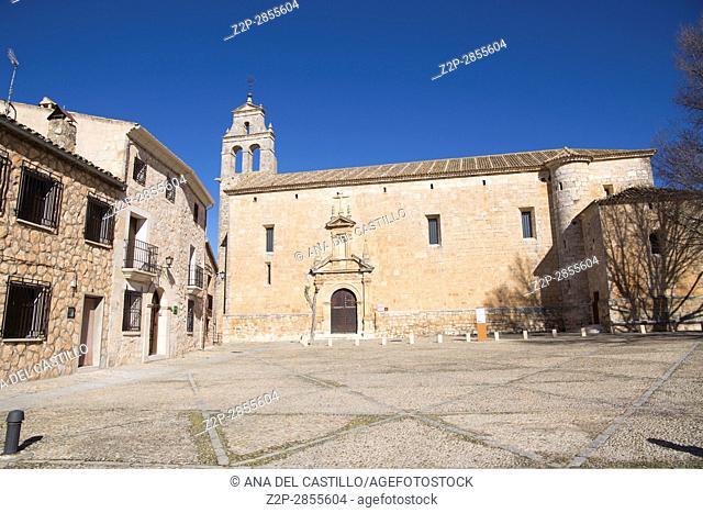Alarcon village in Cuenca province Castile La Mancha Spain San Juan Bautista church