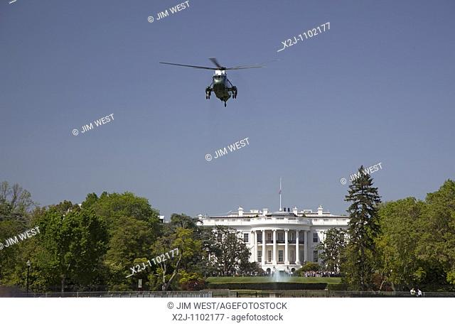 Washington, DC - Marine One helicopter lifts off from the White House south lawn