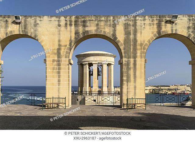 Lower Barrakka Gardens and Siege Bell Memorial, Valletta, Malta