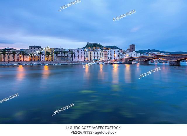 View of the town along Temo River, Bosa, Sardegna (Sardinia), Italy