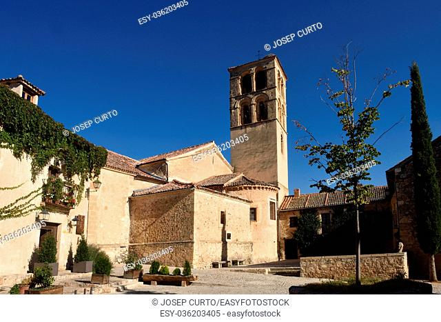 Church of San Juan Bautista in Pedraza, walled medieval village declarated Historical-Artistic Site Segovia province Castilla y  Leon Spain
