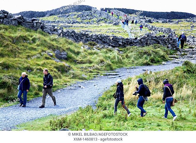 road to Dun Aengus fort Dún Aonghasa  Inishmore island, Aran island  County Galway, Ireland