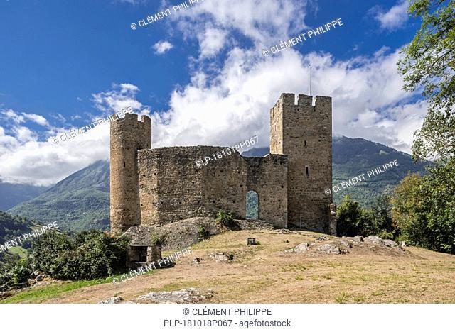 Ruins of the Château Sainte-Marie castle near Esterre and Luz-Saint-Sauveur, Hautes-Pyrénées, France