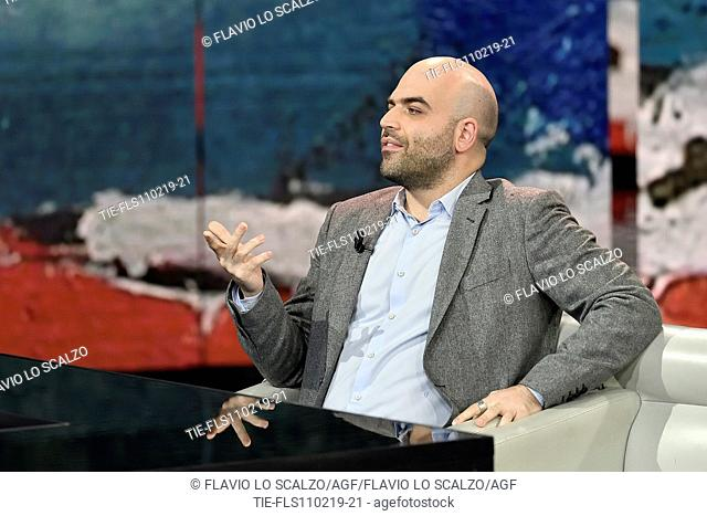 Roberto Saviano during the tv show Che tempo che fa, Milan, ITALY-10-02-2019