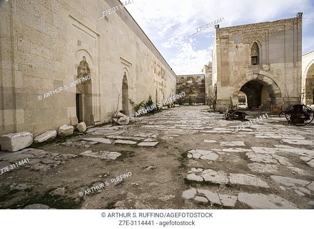 Small courtyard mosque with arched base. Kiosk Mescit (pavilion mosque). Caravanserai of Agzikarahan, 13th century caravan inn for merchants, Cappadocia, Turkey
