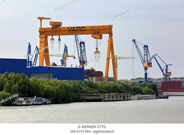 Romania, Tulcea at the Danube, Saint George branch, Tulcea County, Dobrudja, Gate to the Danube Delta, city view, harbour, shipyard, cranes, Danube bank