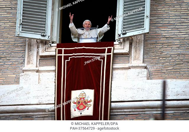 Pope Benedict XVI delivers his final Angelus devotion of his tenure as Pontiff from a balcony overlooking St. Peter's Square in Vatican City, Vatican