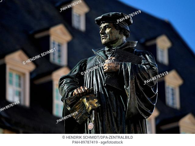 The monument of Martin Luther, German theologist and key figure of the Protestant Reformation, seen on the market square in Luther's hometown ofEisleben