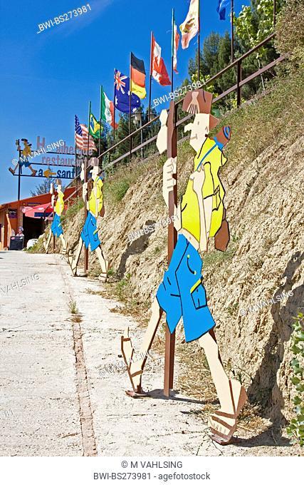 tin figures of pilgrims showing the way to the pilgrim's hostel, Spain, Kastilien und Len, Burgos, Belorado