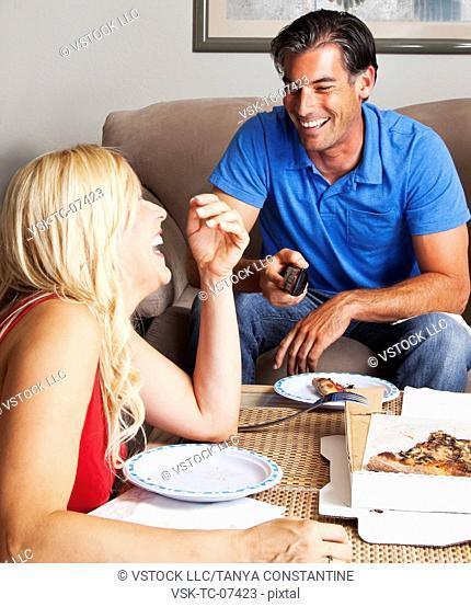 USA, California, Fairfax, Happy couple having pizza